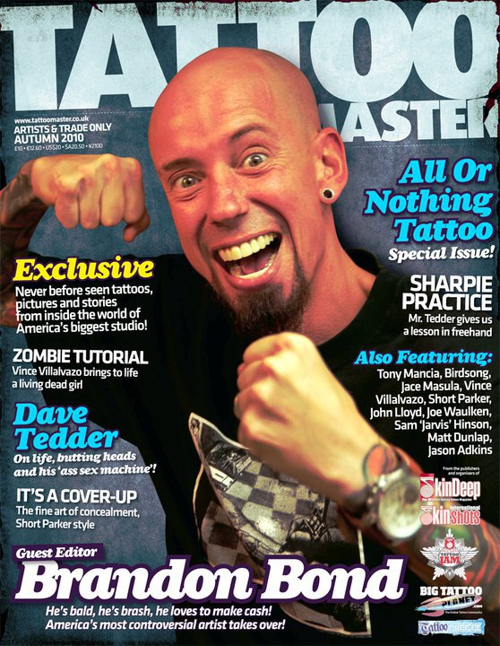 Brandon Bond on the cover of Tattoo Masters Magazine